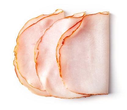 Sliced ham on white background