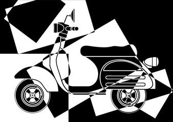 Scooter en noir et en blanc