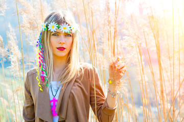 Girl hippie indie style in nature