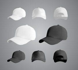 Baseball cap black and white templates, front, side, back views set, vector eps10 illustration isolated on white background