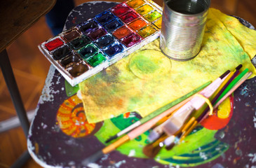 Paints, brushes and other tools