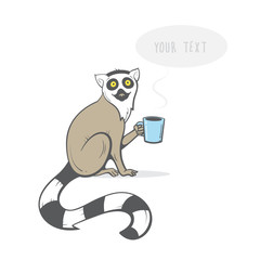 Card with cartoon ring-tailed lemur. Vector image. Hand drawn image. Lemur holding a cup  in his paw.