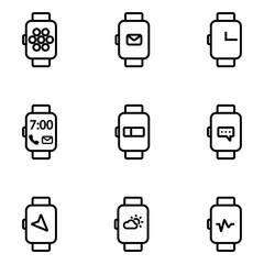 Vector line smart watch icon. Smart Watch Icon Object, Smart Watch Icon Picture, Smart Watch Icon Image - stock vector