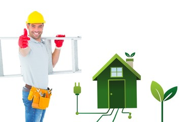 Composite image of smiling handyman carrying ladder