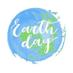 Earth day hand written inscription