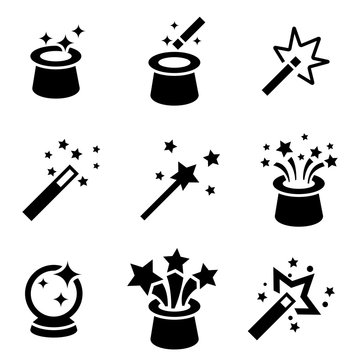 Vector black magic icons set. Magic Icon Object, Magic  Icon Picture, Magic Icon Image - stock vector