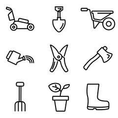 Vector line gardening icons set. Gardening Icon Object, Gardening  Icon Picture, Gardening Icon Image - stock vector