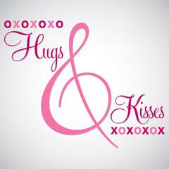 Elegant typographic 'Hugs & Kisses' card in vector format.