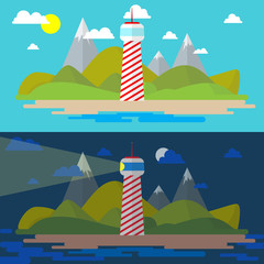 Flat island landscape with lighthouse illustration. Day and nigh