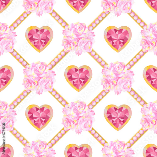 Watercolour Seamless Pattern With Hearts And Flowers Stock Photo