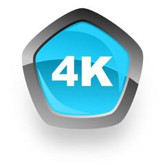 4k blue pentagon web vector glossy icon