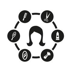 Vector black barber icon set. Barber Icon Object, Barber Icon Picture, Barber Icon Image - stock vector