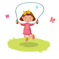 Little girl skipping rope