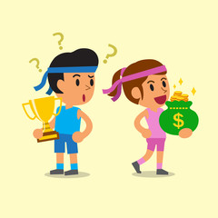 Cartoon sport man holding trophy and sport woman holding money bag