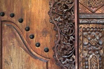 Wood carving part of vintage door in balinese style