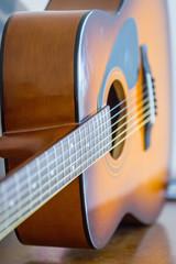 Detail of Classic Brown Guitar, Vertical View