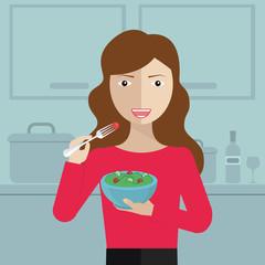 Smiling woman eating salad in kitchen vector flat design illustration