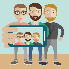 Friends taking a selfie photo flat design