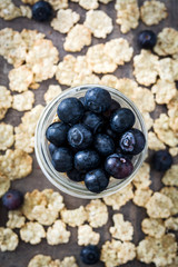 Yogurt with fresh blueberries and cereals