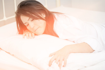 woman stress on bed , dream soft style