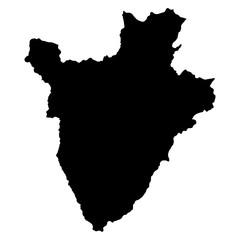 Burundi black map on white background vector