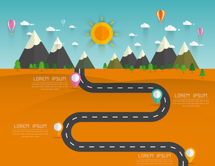 Poster Turquoise infographics Landscape background Vector illustration