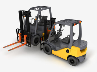 Forklift loader isolated on white.3D illustration.