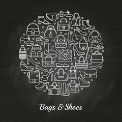 Circle made of line icons. Bags and shoes. Chalkboard background. Vector illustration