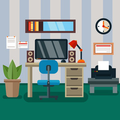 Workspace in room with flat work study and interior icons vector illustration