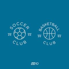 Soccer, Football and Basketball Vector Logo Set