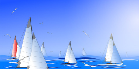 Abstract seascape simulating the regatta.Vector