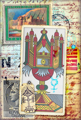 Fotobehang Imagination Ace of cups of tarots and manuscript with old stamps