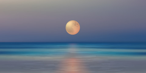 Paysage Clair de lune - Océan