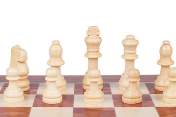 chess board with figures over white background