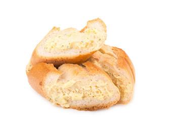 garlic bread against white background