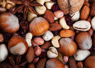 mix of nuts and cranberries