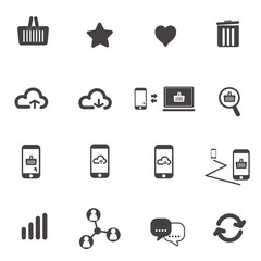 Web icon set social  with black