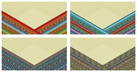 Bright ethnic frame at set. Abstract background with bright ethnic ornament border for special design.
