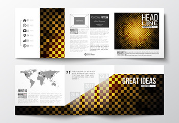 Set of tri-fold brochures, square design templates. Abstract polygonal background, modern stylish golden vector texture.