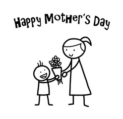 Happy Mother's Day, a hand drawn vector doodle illustration of a little child giving his mother a flower bouquet on Mother's Day.