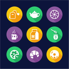 Tea Icons Flat Design Circle