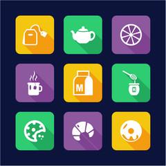 Tea Icons Flat Design