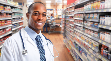 African-american Doctor pharmacist man.