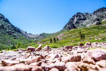 Camminando nella Valle dell'Alto Asco verso il Monte Cinto, la montagna più alta di Corsica, Francia