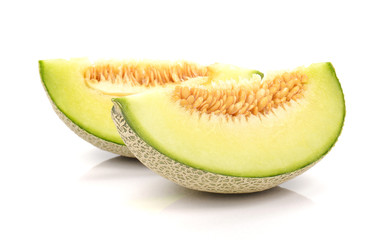 Melon , Melon cut piece on white background.