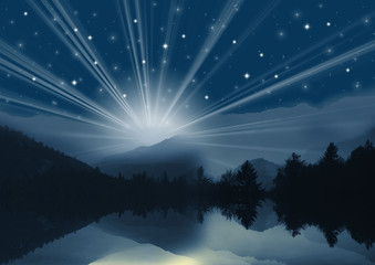 lake with night sky and mountains