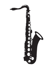 Silhouette noire de saxophone