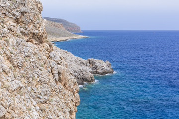 Panoramic view of the sea coast with turquoise water. East coast