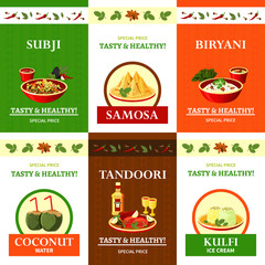 Indian Cuisine Flat Icons Set Poster