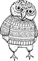 illustration of Cartoon owl sitting on tree branch